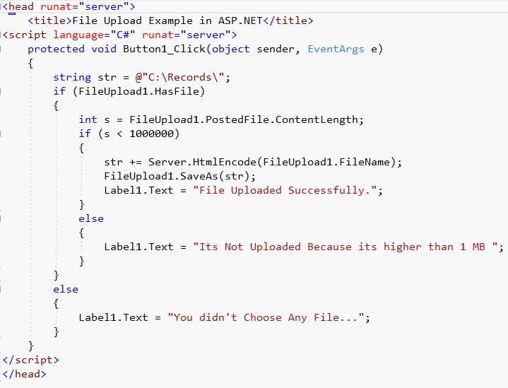 ASP NET File Upload Control With FILE Size Limit 1 MB