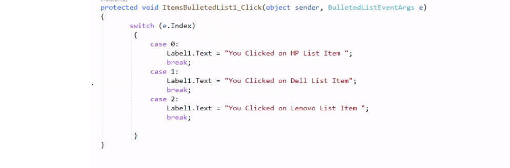 Example of Bulleted List Control in ASP NET