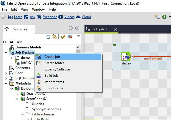 How to Create First Job in Talend